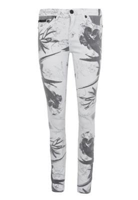 Calça Sarja Calvin Klein Jeans Skinny Print Branca