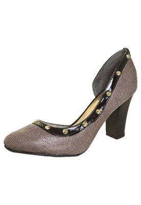 Sapato Scarpin FiveBlu Salto Quadrado Marrom