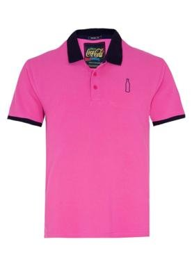 Camisa Polo Coca-Cola Clothing Brasil Bordado Bicolor Rosa -...