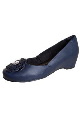 Sapato Scarpin Dayflex Anabela Embutida Flor Strass Azul