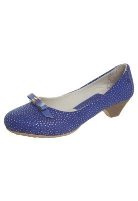 Sapato Scarpin Anna Flynn Laço Strass Azul