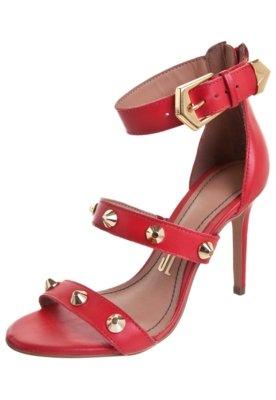 Sandália Santa Lolla Tiras Tachas Vermelha