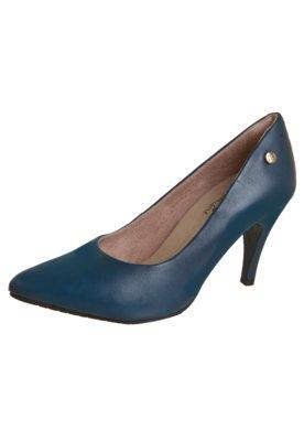 Sapato Scarpin Malu Super Comfort Bico Fino Basic Azul