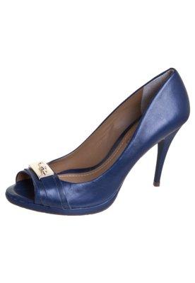 Sapato Scarpin Dumond Peep Toe Meia-Pata e Ferragem Azul