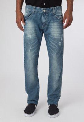 Calça Jeans Sawary Reta Wash Azul