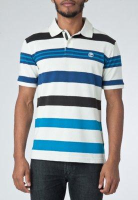 Camisa Polo Timberland Thin Stripe Off-White
