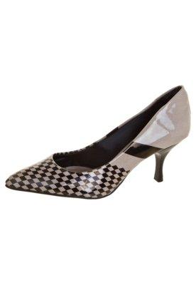 Sapato Scarpin Di Cristalli Bico Fino Salto Baixo Bege