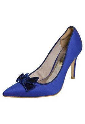 Sapato Scarpin Bebecê Bico Fino Laço Veludo Azul