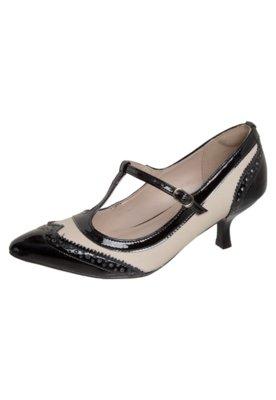 Sapato Scarpin Bico Fino Salomé Brogues Bege/Preto - Top Vi...