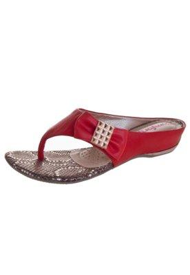 Sandália Comfortflex Salto Embutido Laço Vermelho