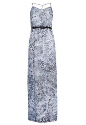 Vestido Longo Carmim Print Cinza