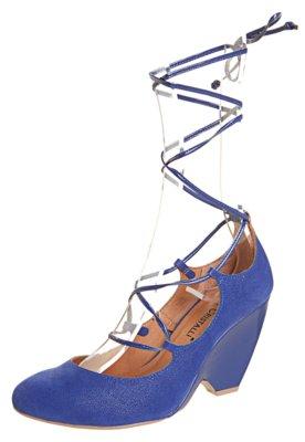 Sapato Scarpin Di Cristalli Salto Médio Gladiador Azul