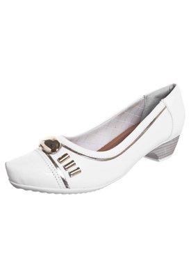 Sapato Scarpin Piccadilly Salto Baixo Fivela Metais Branco