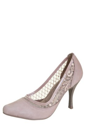 Sapato Scarpin Ramarim Total Comfort Tela Renda Nude