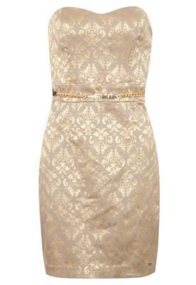 Vestido Carmim Damask Dourado