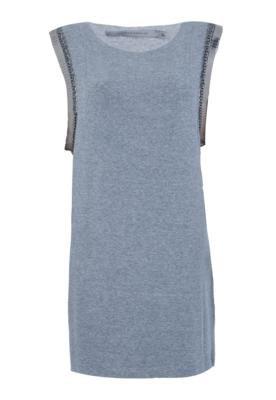 Vestido Espaço Fashion Bordado Cinza