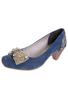 Sapato Scarpin Dakota Laço Strass Azul