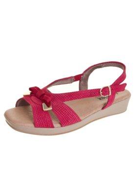 Sandália Usaflex Anabela Baixa Chanel Laço Vermelha