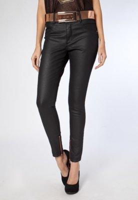 Calça Jeans Lança Perfume Skinny Resina Preta