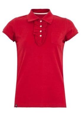 Camisa Polo Anna Flynn Babado Vermelha