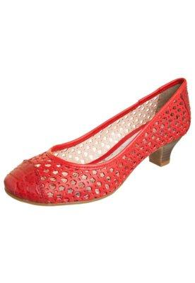 Sapato Scarpin Bottero Vazado Salto Baixo Vermelho