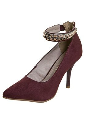 Sapato Scarpin Zatz Pulseira Pirâmides Vinho