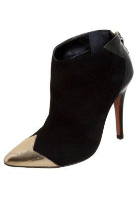 Ankle Boot My Shoes Recortes Preto/Dourado