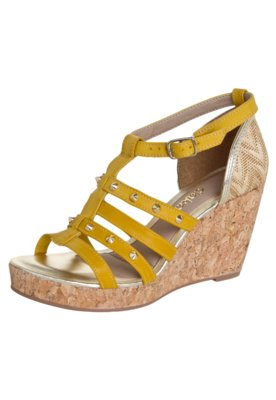 Sandália Dakota Anabela Gladiadora Tachas Amarela