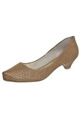 Sapato Scarpin FiveBlu Metalizado Bege