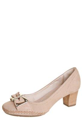 Sapato Scarpin Usaflex Ponto Celeiro Laço Strass Bege