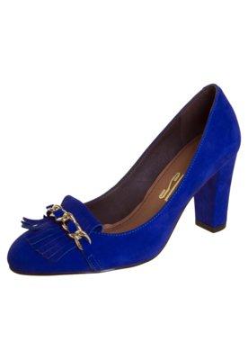 Sapato Scarpin Santa Lolla Bico Redondo Nobuck Azul