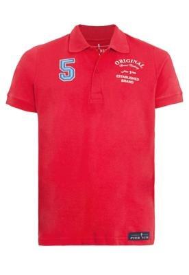 Camisa Polo Pier Nine Bordado Vermelha