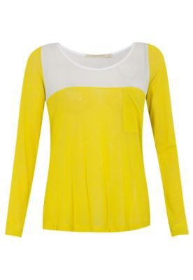 Blusa Espaço Fashion Bicolor Manga Amarelo