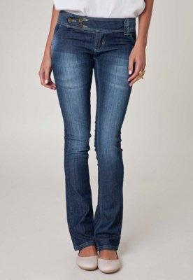 Calça Jeans Sawary Bootcut Bordados Azul
