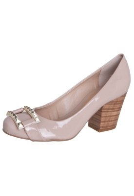 Sapato Scarpin Lillys Closet Fivela SPikes Bege - Lilly's Cl...