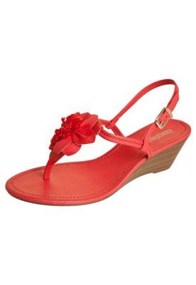 Sandália Azaleia Anabela Média Dedo Flor Vermelha