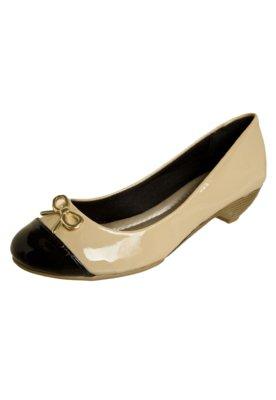 Sapato Scarpin Anna Flynn Laço Metálico Bege