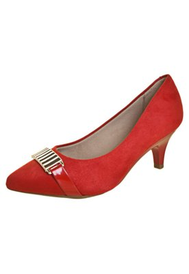Sapato Scarpin Beira Rio Salto Baixo Ferragem Vermelho