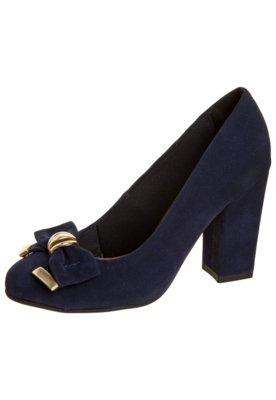 Sapato Scarpin Salto Grosso Laço Azul - Crysalis