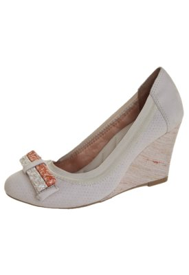 Sapato Scarpin Ramarim Anabela Elástico Laço Trança Off-W...