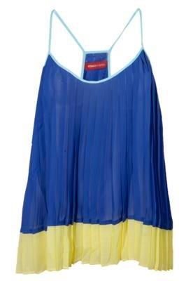Blusa Iodice Denim Plissado Color Blocking Azul - Iódice De...