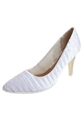 Sapato Scarpin Piccadilly Salto Alto Drapeado Branco