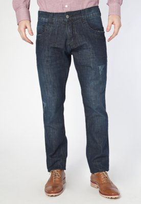 Calça Jeans Biotipo Reta Puídos Azul