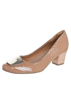 Sapato Scarpin Usaflex Salto Bloco Metal Bege