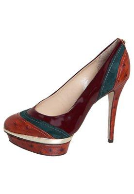 Sapato Scarpin Jorge Bischoff Recortes Tricolor Vinho