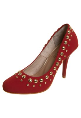 Sapato Scarpin FiveBlu Tachas Vermelho