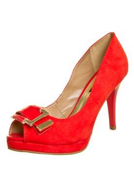 Sapato Scarpin Anna Flynn Fivela Vermelho