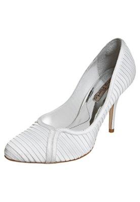 Sapato Scarpin Laura Porto Drapeado Festa Branco