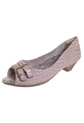 Sapato Scarpin Confortflex Salto Baixo 2 Fivelas Bege - Comf...