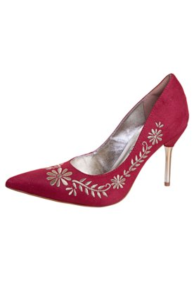 Sapato Scarpin Bebecê Salto Pino Bordado Vermelho